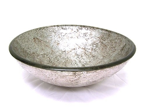 Galaxy silver foil glass vessel sink (CH9048)