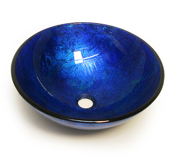 Charmant Blue Frost Textured Tempered Glass Vessel Sink Bowl (CH9047)