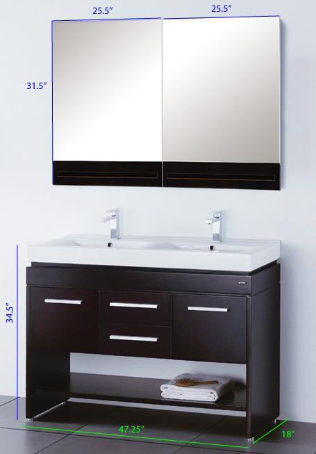 Double Vanity Sink Cabinet Sink Mirror And Faucet P2859